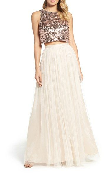 Free shipping and returns on Adrianna Papell Sequin Two-Piece Gown at Nordstrom.com. Flawlessly pairing fashion-forward style with traditional romanticism, a sleeveless crop top illuminated with scores of shimmering rose-gold sequins is an of-the-moment counterpart to a voluminous tulle skirt with a flattering, nipped-in waistband.