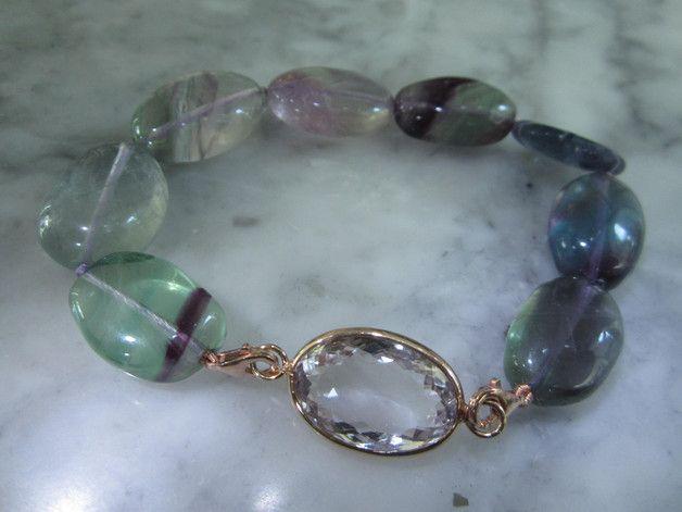 Rauchquarz - Armband Achat Fluorit Mondstein Reif Gold Perle - ein Designerstück von TOMKJustbe bei DaWanda
