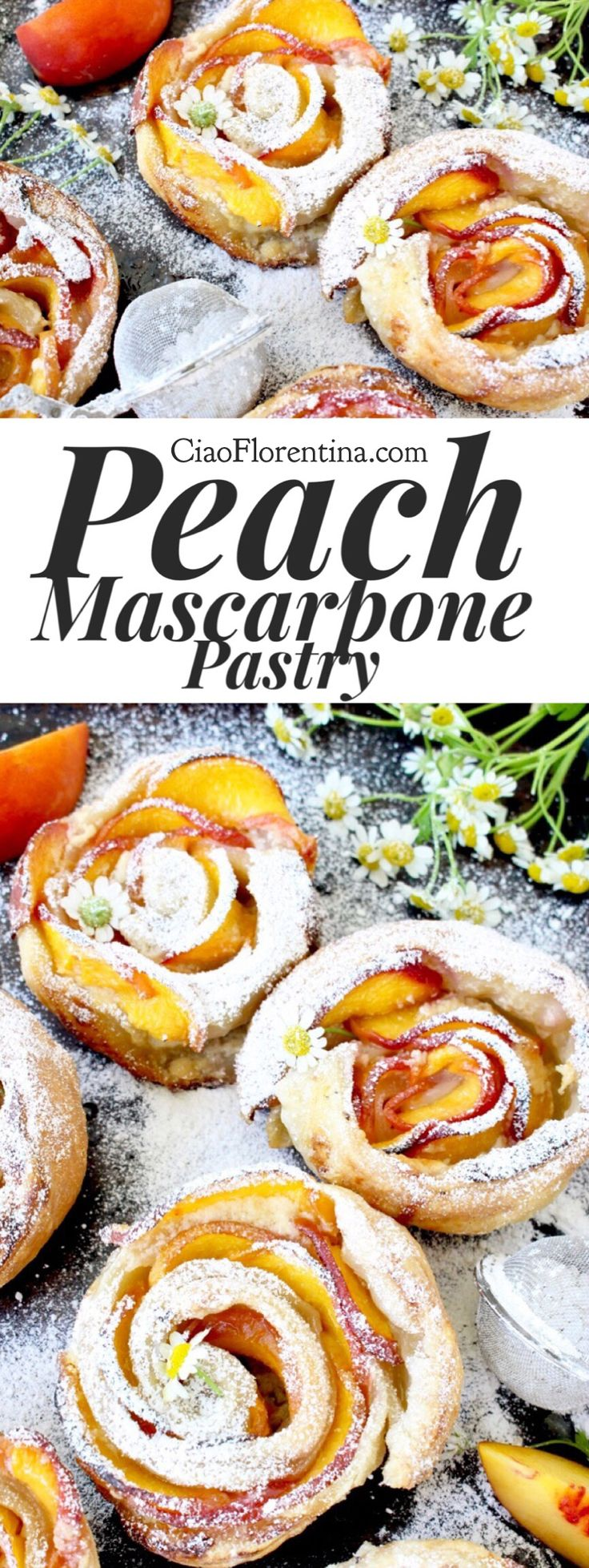 Fresh Peach Mascarpone Puff Pastry Dessert Recipe | CiaoFlorentina.com @CiaoFlorentina