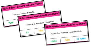 verbes cartes à pinces Jeux de français CP et CE1