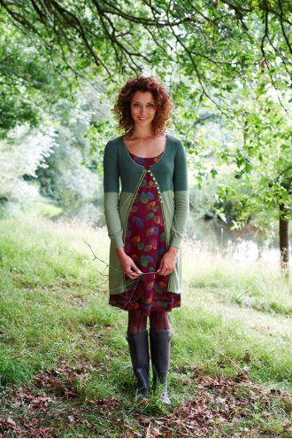 MISTRAL Smartie Button Ribbed Long Cardi Green