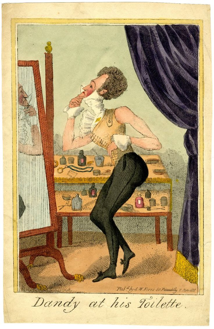 Dandy at his toilette  Date 1818 British Museum. He wears a corset and has an array of creams and potions.