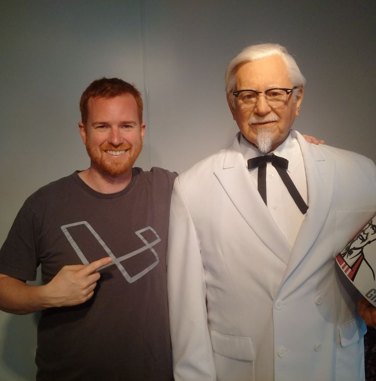 Grant hanging out with Colonel Sanders