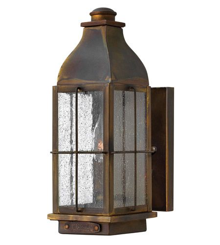Hinkley 2040SN Bingham 1 Light 13 inch Sienna Outdoor Wall Lantern, Clear Seedy Glass photo