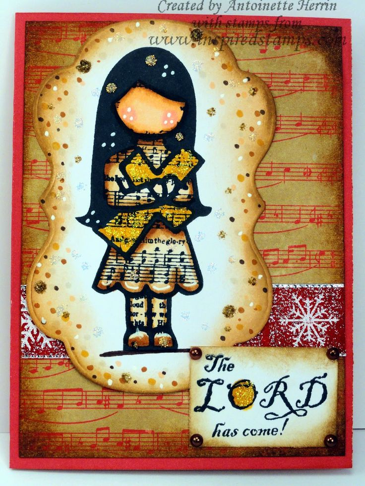 inspiredstamps.blogspot.com, hymn girls stamp, vintage christmas stamp, christmas card, copic, bazzill