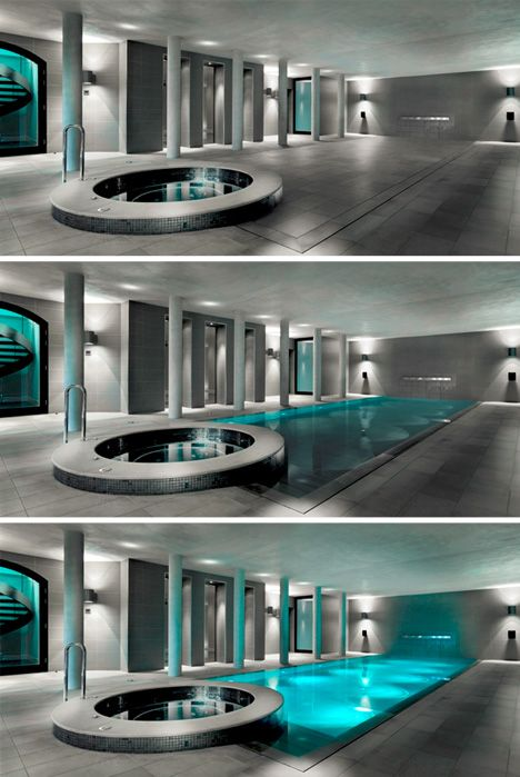 Walk on Water: Hydro-Floors Hide Secret Swimming Pools -  At the push of a button, decking descends autometically and water fills in the void left behind – conceal, reveal, rise and repeat as desired, turning a cocktail into a pool party and back again.
