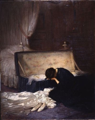 "The Wedding Dress"" by Fred Elwell 1911  She is grieving, and no longer going to use that dress. The question is why."