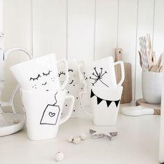 DIY painted mugs.