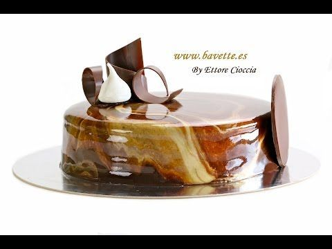 Tarta tres chocolates con glaseado efecto mármol - YouTube