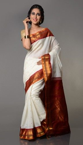Pure silk cotton saree from gadwal in white