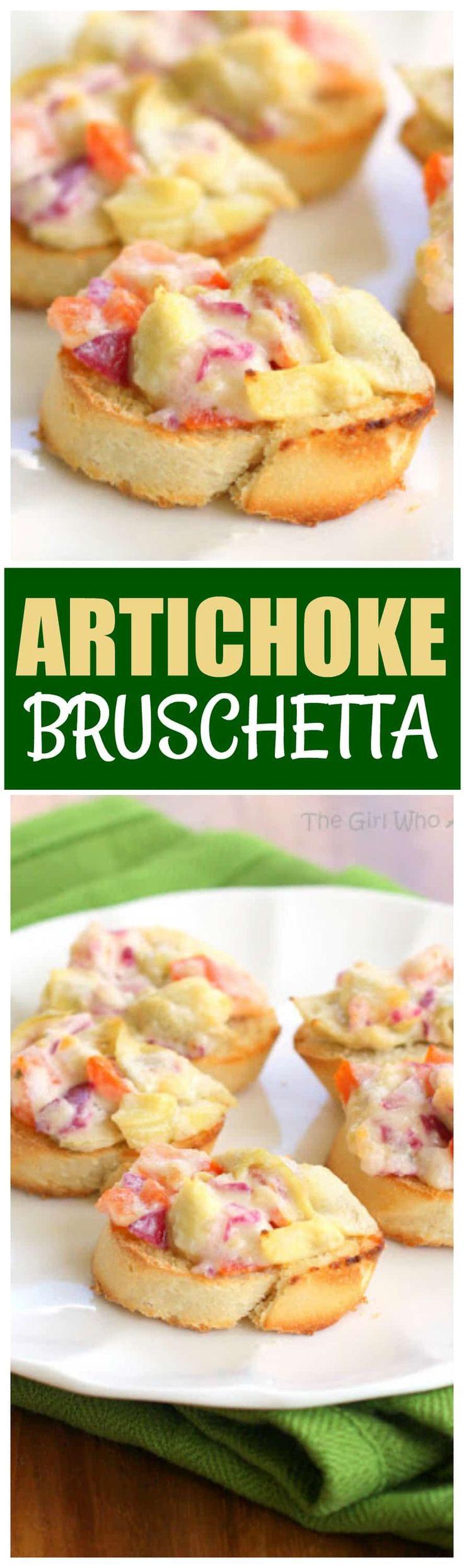This Artichoke Bruschetta is a crowd pleasing appetizer!