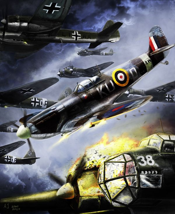 Battle of Britain, Spitfire in action. Artwork by Jacopo Alfano.