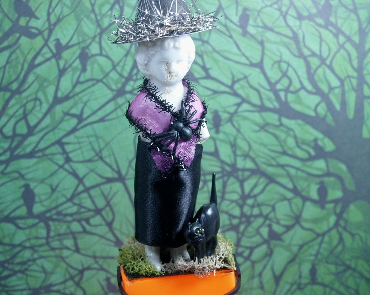 Spooky Halloween Miss Charlotte Witch Grungy Doll in 2 - 5x7 - frozen halloween decorations