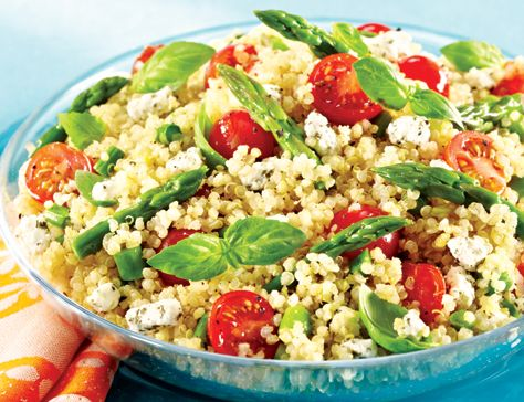 Asparagus, Tomato & Goat Cheese Quinoa Salad