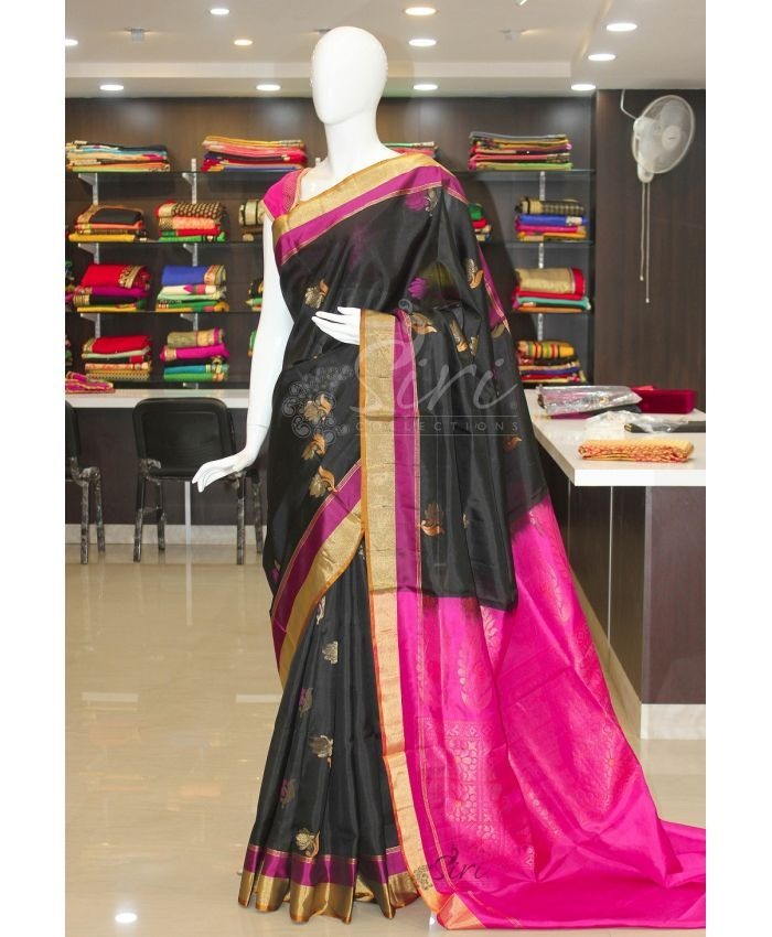 Pure uppada silk saree in black with rich contrast pallu