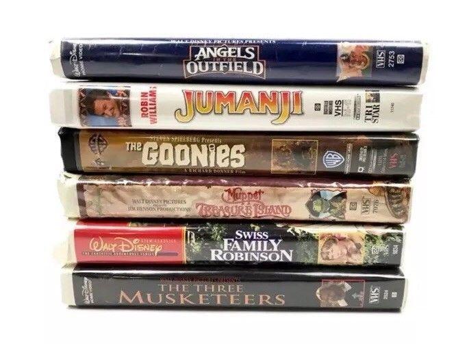 Children S Vhs Movies Clamshell Jumanji Muppets Goonies Three Musketeers Ebay