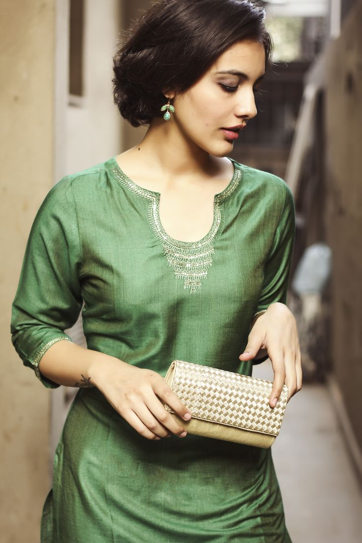 #green #tussar #kurta and #silk #clutch