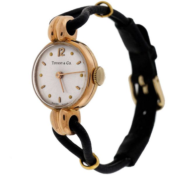 Preowned Universal Lady's Rose Gold Wristwatch Retailed By Tiffany &... (81 105 UAH) ❤ liked on Polyvore featuring jewelry, watches, vintage, vintage accessories, red, wrist watches, vintage watches, rose jewelry, rose jewellery and red gold jewelry