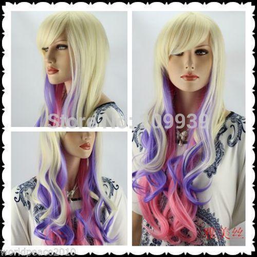 Кк 001606 потому Harajuku светлый блондин / фиолетовый / розовый mix длинными + подарок 5.2