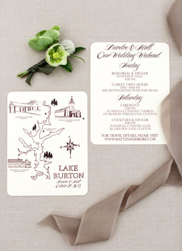 Beautiful custom wedding invitations with map | Rustic White Photography