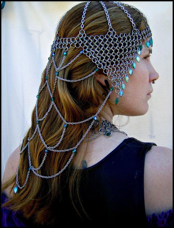 Green Leaf Valkyrie Renaissance Royalty Headdress Silver Cosplay Nature Goddess…