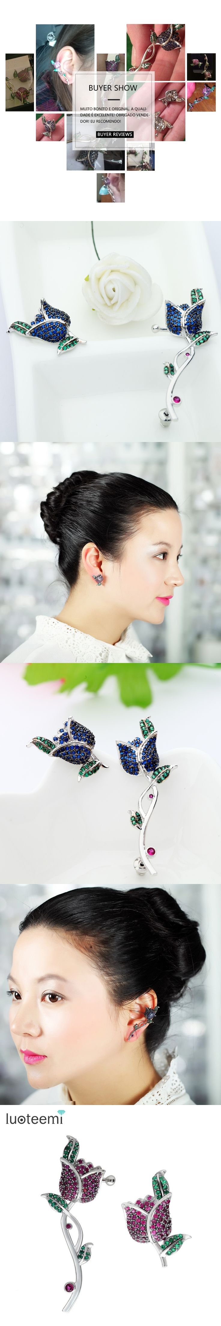 LUOTEEMI New Fashion Asymmetry Brass Material CZ Micro Pave Rose Flower Charming Bar Jewelry Earrings For Women Wedding Party