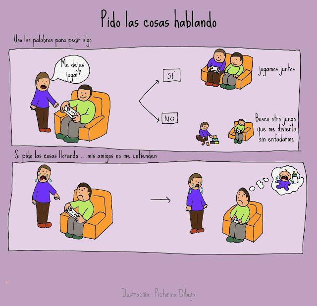 Dibujos para niños con T.E.A. y sus padres.: Pido lo que quiero hablando, no llorando.