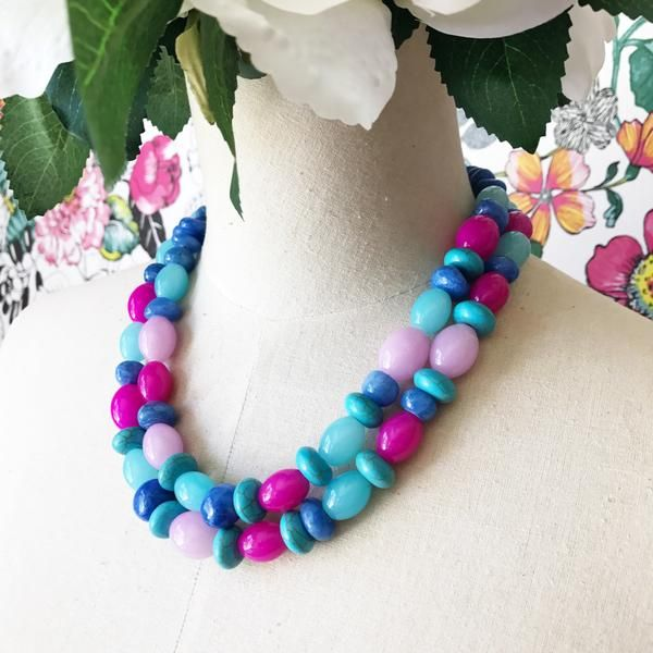 *Each piece absolutely unique- what you see is what you get! *Fabulous double strand statement piece * Beautiful mix ofLouisarose and Costones and glass.