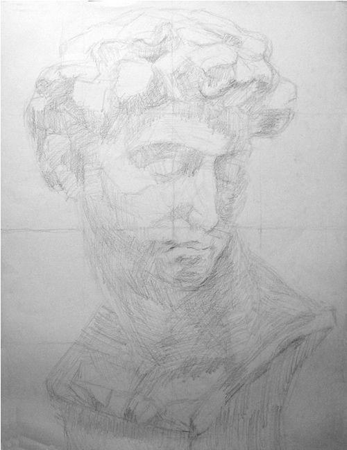 石膏像の鉛筆デッサン描き方過程03