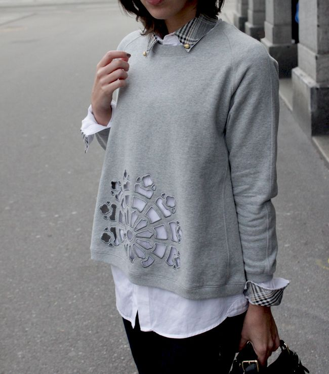 DIY blogger Virginie Peny is wearing Carven sweatshirt and embellished shirt. Find more on her blog.