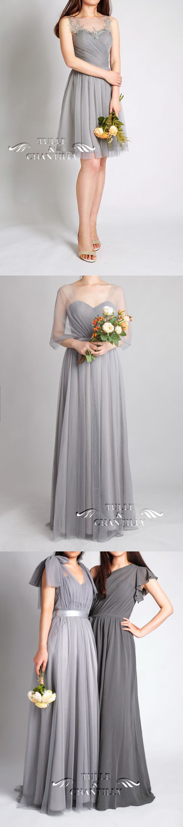 grey wedding color ideas and tulle gray bridesmaid dresses 2015 trends