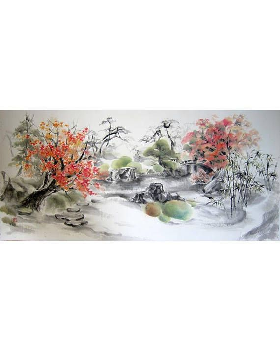 Landscape Large Sumi E Painting Japanese Ink Painting Ink Painting