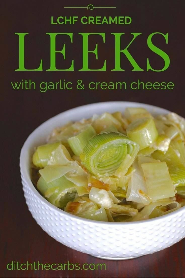 Amazing low carb creamed leeks with garlic and cream cheese. So simple and incredibly tasty. | ditchthecarbs.com