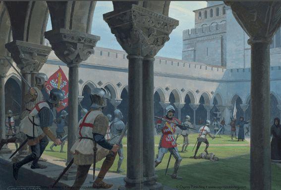 Batalla de Castillón 1.453. Arqueros y hombre de armas igleses expulsando a los franceses de una abadia cerca de castillon antes de la batalla.