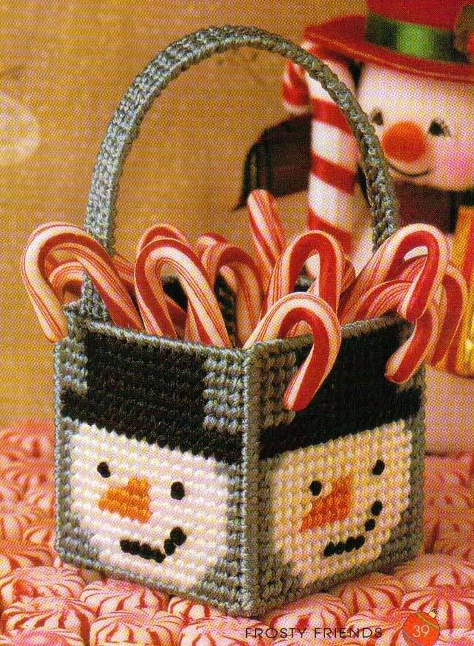 Mini Frosty Basket Snowman Plastic Canvas Pattern Instructions Only from A Book | eBay