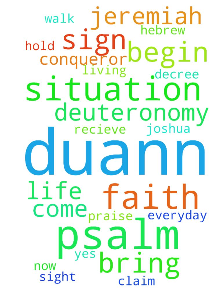 Dear father DUANN begin with sign of our faith in the - Dear father DUANN begin with sign of our faith in the name of the father and of the son the Holy Spirit DUANN walk faith now by sight DUANN is the head not the tail DUANN is above not beneath pray for my grandson DUANN to start living a victory life to over come every tempertation that come is way declare it decree it claim it believe it recieve it thank you Jesus yes lord praise the lord thank you jesus its DUANN stand in need of pray…