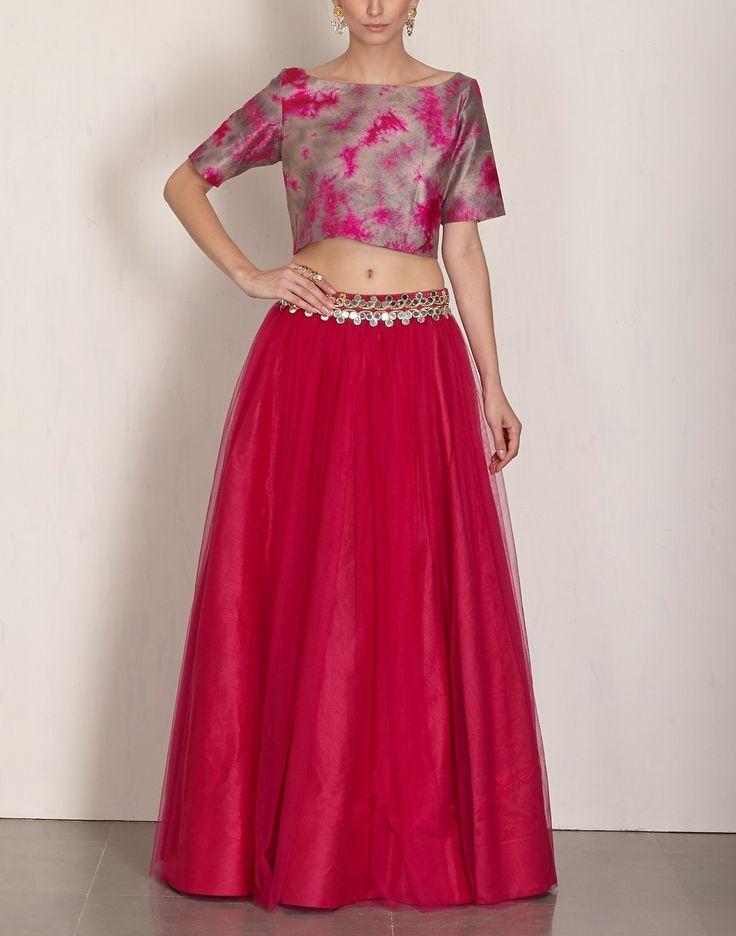 Batik Crop Top & Pink Lehenga