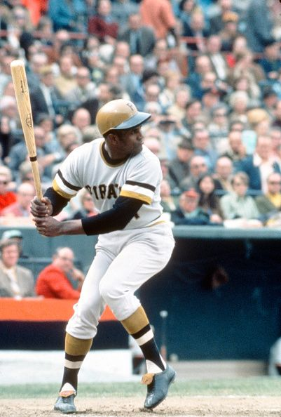 Outfielder Roberto Clemente' #21 of the Pittsburgh Pirates bats against the Baltimore Orioles during the 1971 World Series