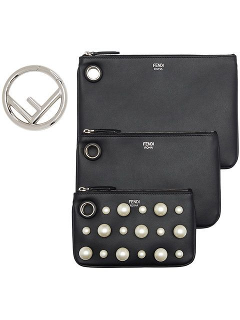 92c9fb078ec9 FENDI Triplette pearl embellished bag.  fendi  bags  leather  pouch   accessories  cotton