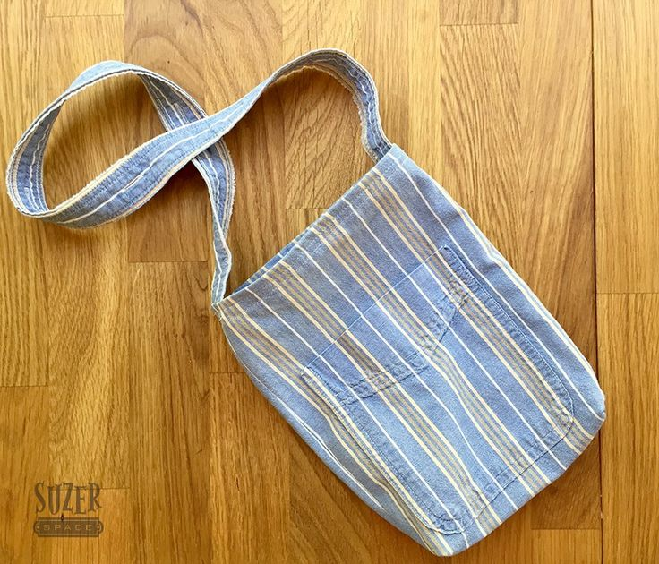 Upcycle a men's dress shirt into a cute small purse with a front pocket | suzerspace.com
