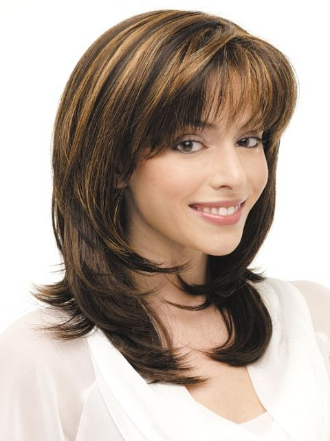 Medium length hairstyles bangs: layered hair , The layered medium length hairstyle contours the face and brings attention to the eyes. Description from images-stock.com. I searched for this on bing.com/images
