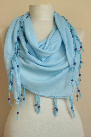 Blue scarves Turkish Yemeni scarf  Beaded scarves beaded velvet scarf  square scarves by ScarfsSale on Etsy