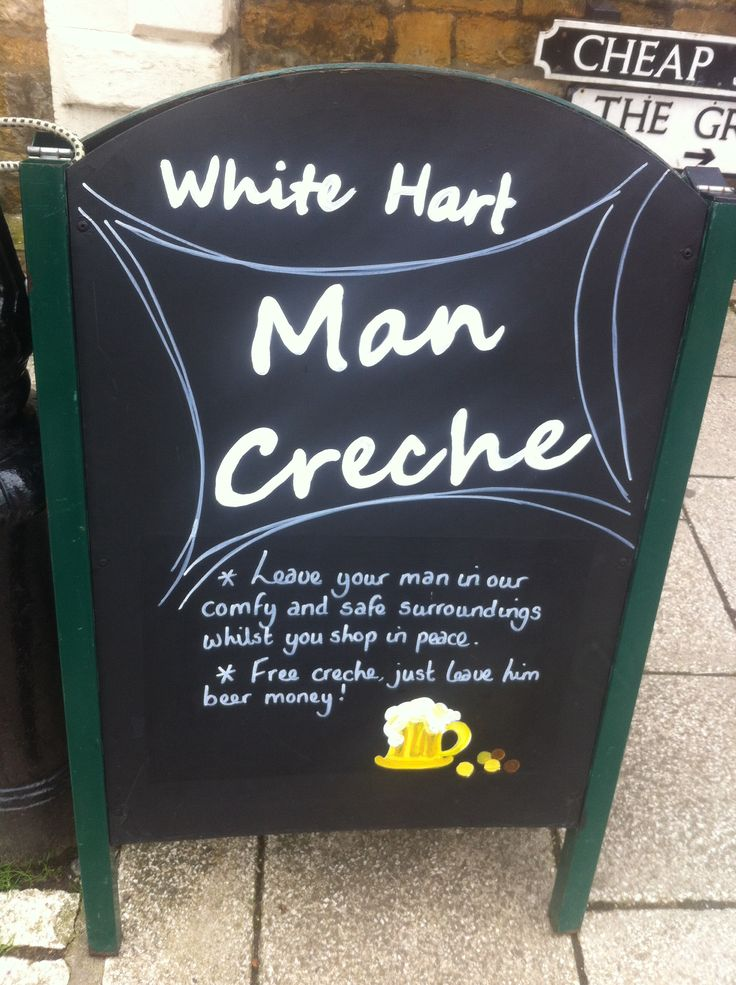 Man crèche anyone? Love this pub sign on Sherborne! #daddydaycare apronsandshoestrings.com