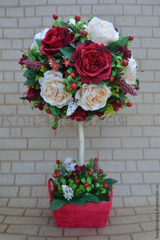 Купить Розовый шикардос - ярко-красный, розы, топиарий, топиарий дерево счастья
