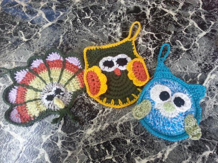 Agarraderas al crochet con diese o de animales mimi - Aplicaciones en crochet ...