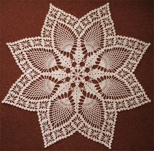 Snowflake Pineapple Doily - and many other doilies with diagrams