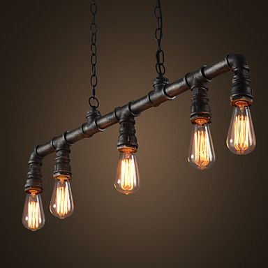 Industrial VIntage Style LOFT Water Pipe Chandeliers Retro Classic Edison Personalized Fixture Lighting 4244648 2016 – $172.35