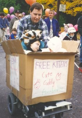 Homemade Box of Free Kittens Wheelchair Costume