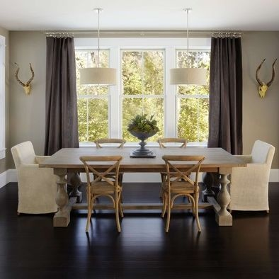 Rockport Gray Painted Walls Sundried Table Dark Wood Floors And Curtains White Accents Dining Room WallsLiving
