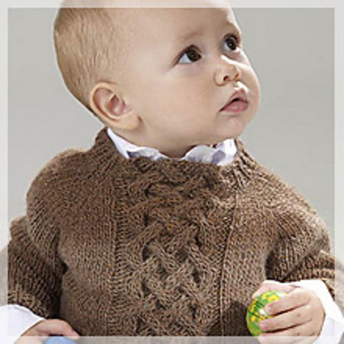 Free pattern Cabled Baby Pullover pattern by Kate Stodter